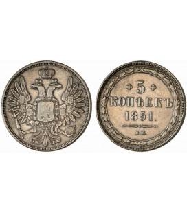5 копеек 1851 года медь
