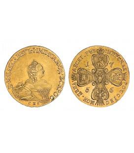 10 рублей 1758 года- цена, стоимость монеты, разновидности, .