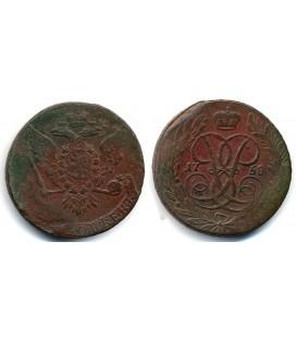 5 копеек 1758 года медь